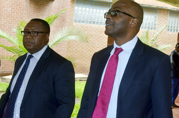 Former Attonny general Musa Mwenye with Nchima Chinto at Lusaka Magistrates Court -Picture by Tenson Mkhala