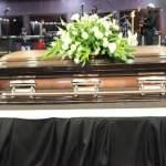 Late Joe Chibangu's casket at Lusaka's Mulungushi Conference Center yesterday