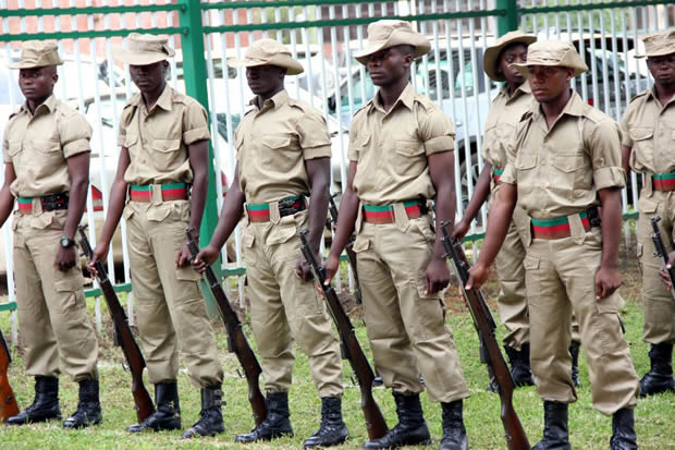 Zambia Cadet on parade during Youth Day celebrations in Lusaka-picture by Tenson Mkhala