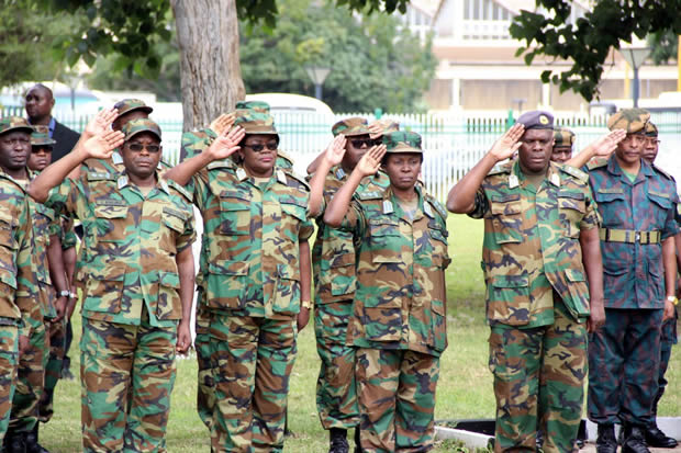 Zambia Air Force salute during Youth Day celebrations in Lusaka-picture by Tenson Mkhala
