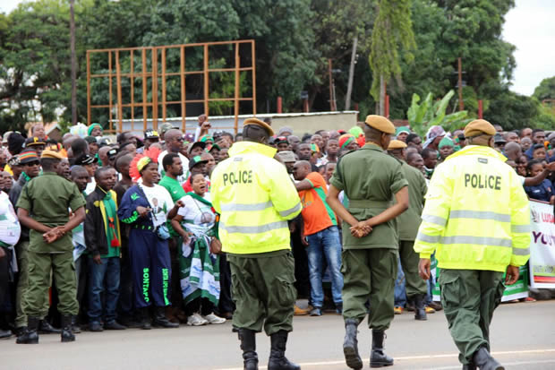 Police officers keeping vigil at some PF cadres during Youth Day celebrations in Lusaka-picture by Tenson Mkhala
