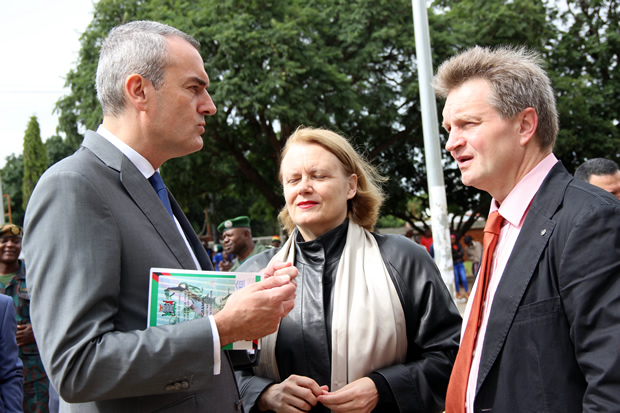 French Ambassador to Zambia Emmanuel Cohet ( r) speaks to UN resident coordinator Janet Rogan and Finnish ambassador to Zambia Timo Olkkonen during Youth Day celebrations in Lusaka-picture by Tenson Mkhala