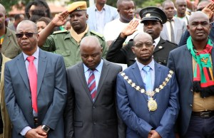 Home Affairs minister Stephen Kampyongo among the ministers, Lusaka Mayor Wilson Kalunga and Lusaka Province minister Justine Mwakalombe (r) at the Youth Day celebrations in Lusaka-picture by Tenson Mkhala