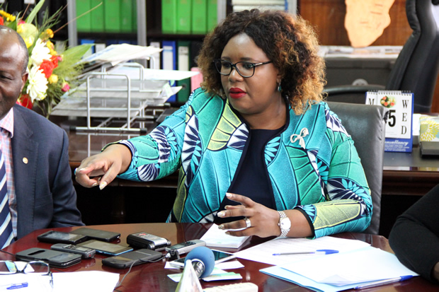 Agriculture minister Dora Siliya speaks to journalist at her office -picture by Tenson Mkhala