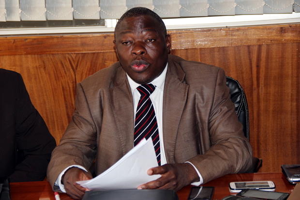 Zambia Congress of Trade Unions Secretary General Cosmas Mukuka during a press briefing in Lusaka-picture by Tenson Mkhala