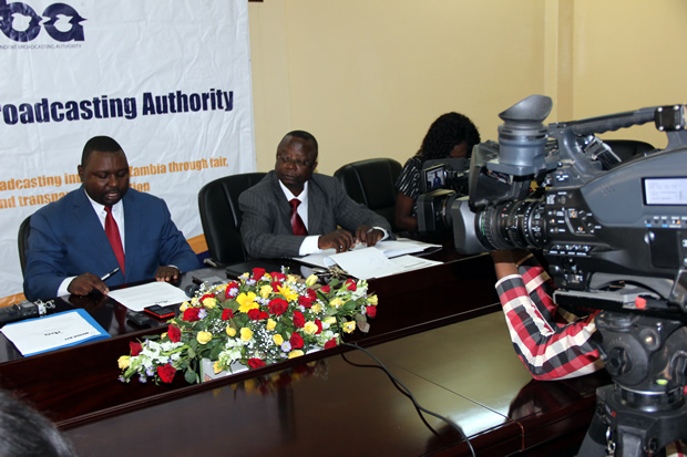 IBA acting director Eustace Nkandu and Finance manager Peter Lesa during a press briefing in Lusaka-picture by Tenson Mkhala