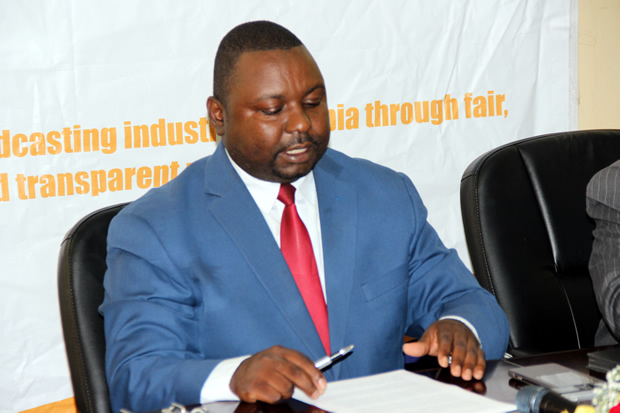 IBA acting director Eustace Nkandu during a press briefing in Lusaka-picture by Tenson Mkhala