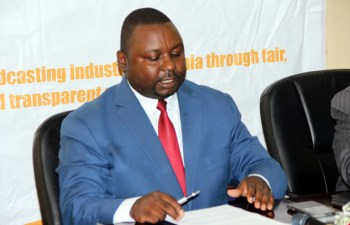 IBA acting Director General Eustace Nkandu during a press briefing in Lusaka-picture by Tenson Mkhala