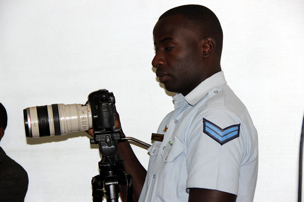 Zambia Air Force photographer during a joint Defense and Home Affairs press briefing in Lusaka-picture by Tenson Mkhala