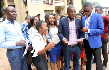 Zambia National Student Union vice president reads a statement to journalist in Lusaka - picture by Tenson Mkhala