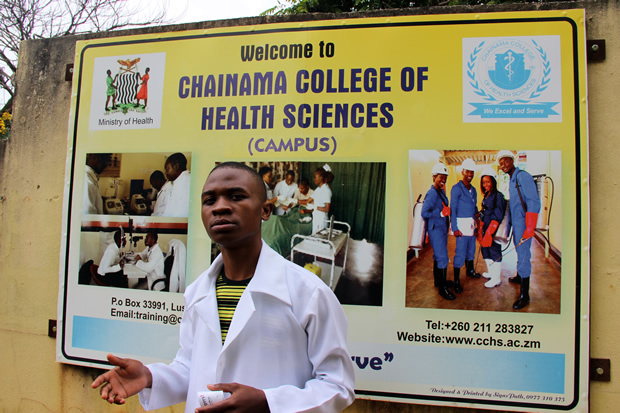 Chainama Student Union secretary general Joseph Mphanza speaks a reporter-picture by Tenson Mkhala