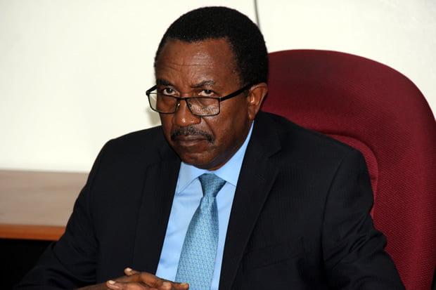 Secretary to Treasury Fredson Yamba during press briefing in Lusaka-picture by Tenson Mkhala