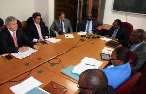 Secretary to Treasury Fredson Yamba with IMF leader of delegation Tsidi Tsikata during press briefing in Lusaka-picture by Tenson Mkhala