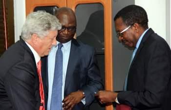 L-r: IMF advisor Paul Mathieu, IMF leader of delegation Tsidi Tsikata and secretary to Treasury Fedson Yamba shortly after press briefing in Lusaka-picture by Tenson Mkhala
