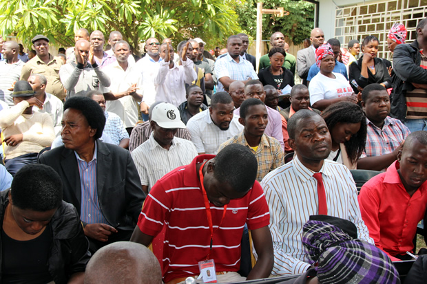 Some UPND cadres during press briefing -picture by Tenson Mkhala