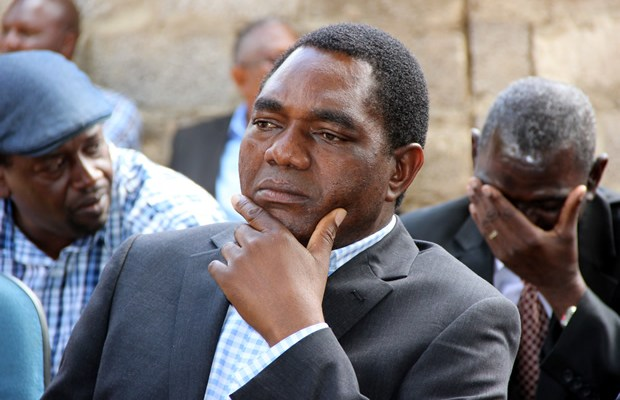 UPND leader Hakainde Hichilema at a press conference in Lusaka-picture by Tenson Mkhala