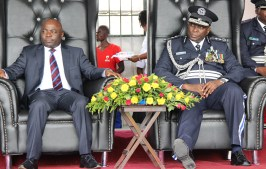 Home affairs minister Stephen Kampyongo with Inspector General of Police Kakoma Kanganja at the 2017 Police Day at the Lusaka showgrounds on March 4 - Picture by Joseph Mwenda