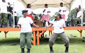 Officers dance at the 2017 Police Day at the Lusaka showgrounds on March 4 - Picture by Joseph Mwenda