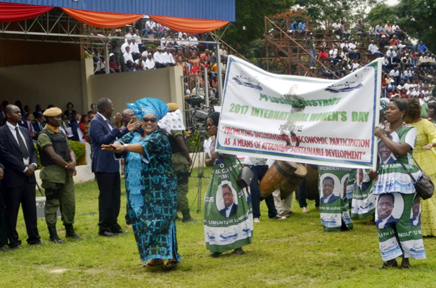 PF womens league march during the 2017 International Womens Day celebrations in Lusaka-picture by Tenson Mkhala
