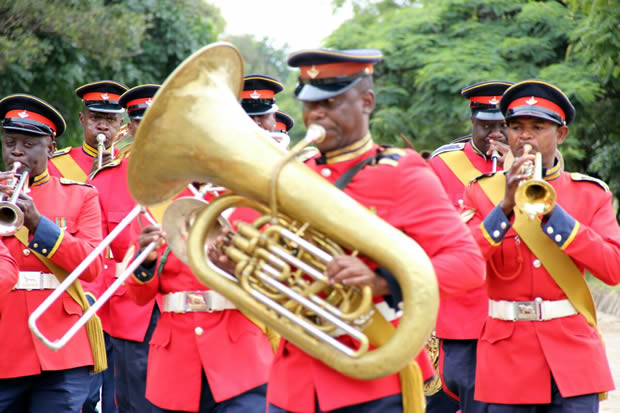 Zambia Army brass band during Youth Day celebrations in Lusaka-picture by Tenson Mkhala