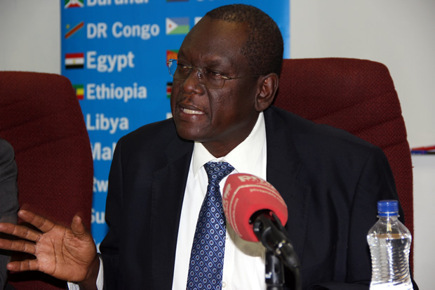 COMESA assistant secretary general Ambassador Dr Kipyego Cheluget at a press briefing-picture by Tenson Mkhala