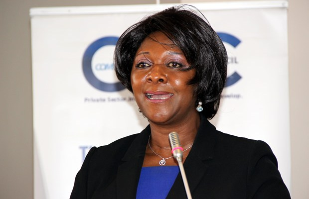 Commerce minister Margaret Mwanakatwe during the Zambia public and private dialogue in Lusaka-picture by Tenson Mkhala