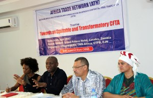 Action Aid Tax Justice Campaign manager Saviour Mwamba speaks during Africa Trade Network meeting at Grand Palace in Lusaka-picture by Tenson Mkhala