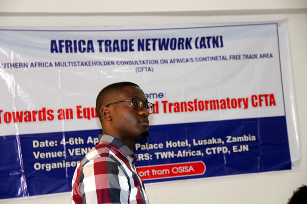 Center for Trade Policy and Development acting executive director Isaac Mwaipopo during Africa Trade Network meeting at Grand Palce in Lusaka-picture by Tenson Mkhala