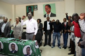 PF deputy secretary general Mumbi Phiri with party members during a press briefing at the party Secretariat in Lusaka-picture by Tenson Mkhala