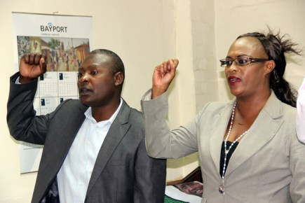 PF deputy secretary general Mumbi Phiri with party deputy spokesperson Frank Bwalya during a press briefing at the party Secretariat in Lusaka-picture by Tenson Mkhala