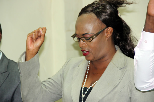 PF deputy secretary general Mumbi Phiri during a press briefing at the party Secretariat in Lusaka-picture by Tenson Mkhala