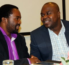 SACCORD Executive Director Boniface Cheembe (r) with Operation Young Vote executive director Guess Nyirenda during press briefing at Lusaka's Pamodzi Hotel-picture by Tenson Mkhala