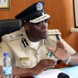 Inspector general of police Kakoma Kanganja speaks to journalist at Police Headquarters-picture by Tenson Mkhala