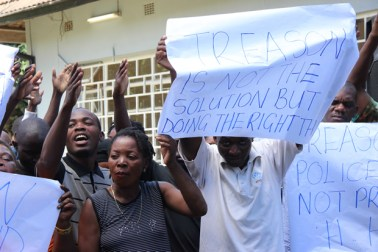 UPND cadres display pro-HH placards at their secretariat today - picture by Tenson Mkhala