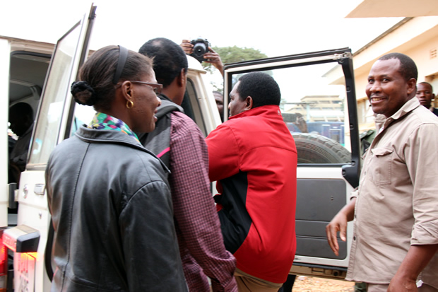 UPND leader Hakainde Hichilema gets in a police vehicle at Lusaka's Magistrates Court -pictures by Tenson Mkhala