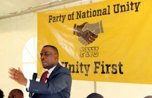 Former Bweengwa UPND member of parliament Highvie Hamududu speaks during the launch of his new political party called Pjarty of National Unity in Lusaka-picture by Tenson Mkhala