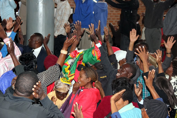 UPND cadres celebrate HH's acquittal – picture by Tenson Mkhala