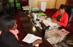 Information Minister Kampamba Mulenga in an interview with News Diggers! at her office in Lusaka. Picture by Tenson Mkhala