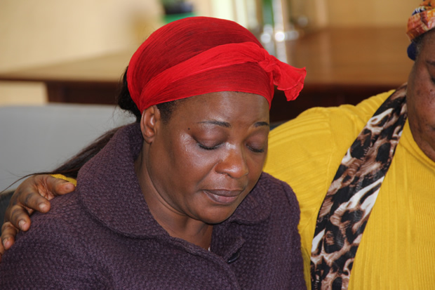 UPND leader Hakainde Hichilema's wife Mutinta at a press brieing at her house in Lusaka's New Kasama. Picture by Tenson Mkhala