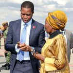 President Edgar Lungu speaks to Vice-President Inonge Wina before departure for Lesotho - picture by Eddie Mwanaleza