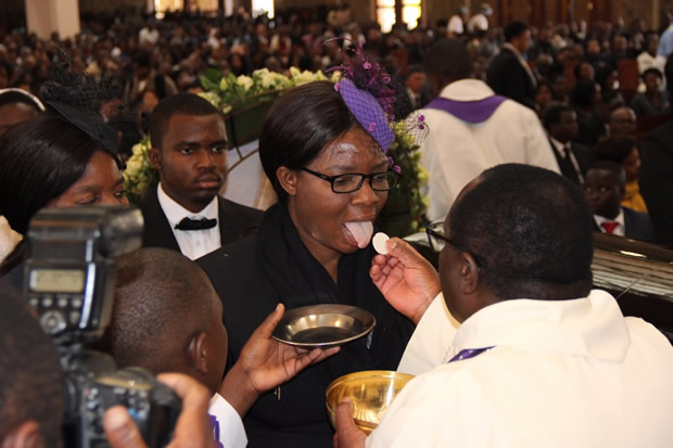 Late Health permanent secretary John Moyo's wife Matilda during church service at the Cathedral of the Child Jesus Catholic Church in