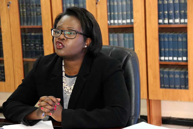 LAZ president Linda Kasonde speaks to journalist at her office in Lusaka picture by Tenson Mkhala