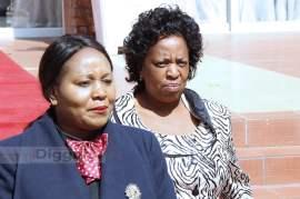 Information Minister Kampamba Mulenga with Labour minister Joyce Ninde Simukoko at State House on July 6, 2017 - Picture by Joseph Mwenda