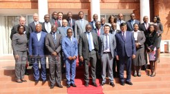 President Edgar Lungu poses for a photograph with heads of Commercial Banks in Zambia after a meeting at State House on July 6, 2017 - Picture by Joseph Mwenda