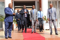 President Edgar Lungu with Finance Minister Felix Mutati before speaking to journalists during a press conference at State House on July 6, 2017 - Picture by Joseph Mwenda