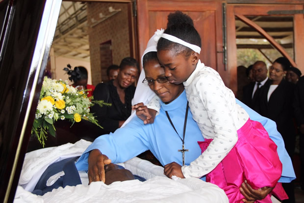 Late Health permanent secretary John Moyo's daughter Edina during requiem mass at the Cathedral of the Child Jesus in Lusaka picture by Tenson Mkhala