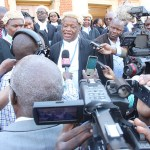 UPND legal counsel Jack Mwiimbu speaks to journalists at the Supreme Court after HH's release on August 16, 2017 - picture by Tenson Mkhala