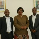 Indian Institute of Mass Communications (IICM) Development Journalism student Maybin Katungulu of Yetsani Radio (left), Zambia's High Commissioner to India Judith Kapijimpanga (centre) and Victor Mwila of ZANIS (right) at the Zambian Chancery in New Dehli, India.