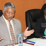 Justice minister Given Lubinda speaks to journalists shortly after receiving a submission the Political Parties Bill from Zambia Center for Interparty Dialogue acting executive director Rosmary Phiri at his office in Lusaka on September 5, 2017 -picture by Tenson Mkhala