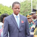 President Edgar Lungu at the National Cenotaph in Lusaka during the remembrance day parade  on November 12, 2017 - Picture by Tenson Mkhala